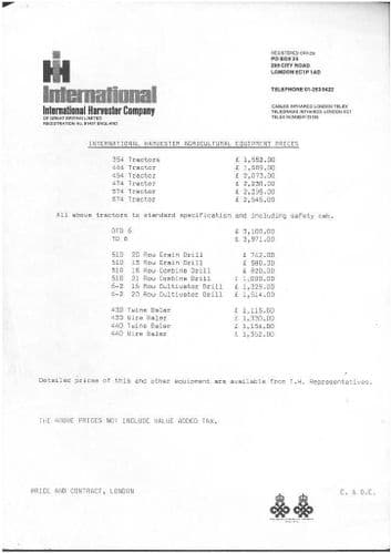 International Tractor, Crawler Tractor, Baler and Drill Price List 1973 - VH6