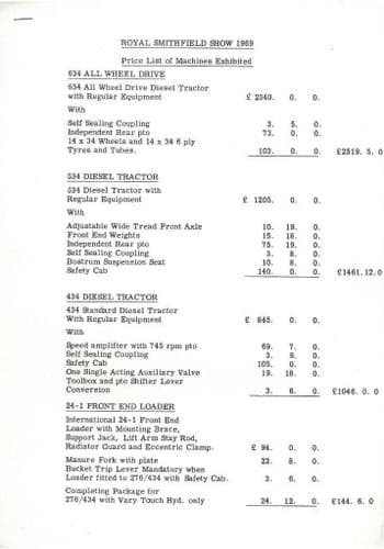 International Tractor Price List of all Machines Exhibited Smithfield Show 1969 -PY1
