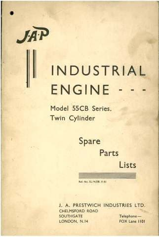 JAP Industrial Engine Model Twin Cylinder 55CB Parts Manual