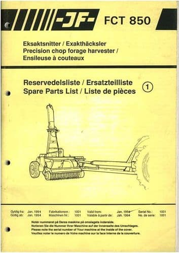 JF Precision Chop Forage Harvester FCT850 Parts Manual - Forager FCT 850