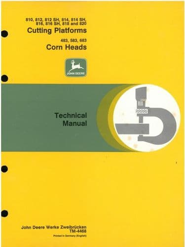 John Deere 800 Series Cutting Platforms & Corn Heads Technical Service Manual - 810 812 812SH 814