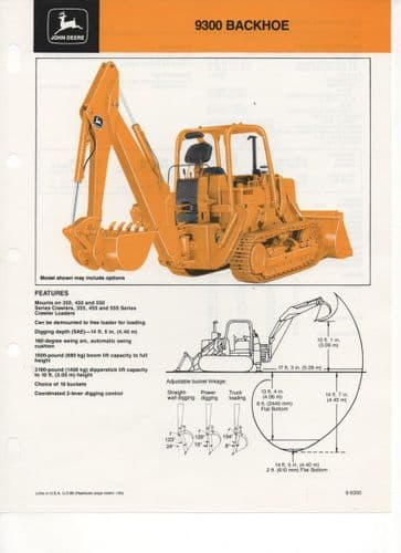 John Deere Backhoe 9300 (Mounts on 350,450 and 550 Series and 355,455 and 555 Series) Brochure