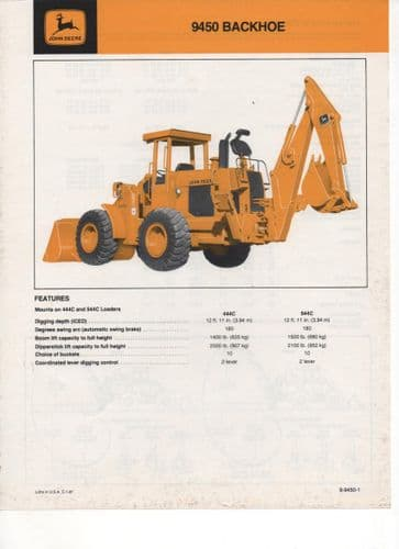 John Deere Backhoe 9450 (Mounts on 444C ad 544C Loaders) Brochure