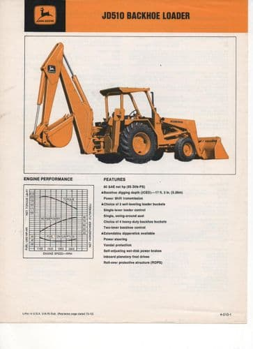 John Deere Backhoe Loader JD510 Brochure
