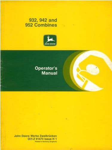 John Deere Combine 932 942 952 Operators Manual