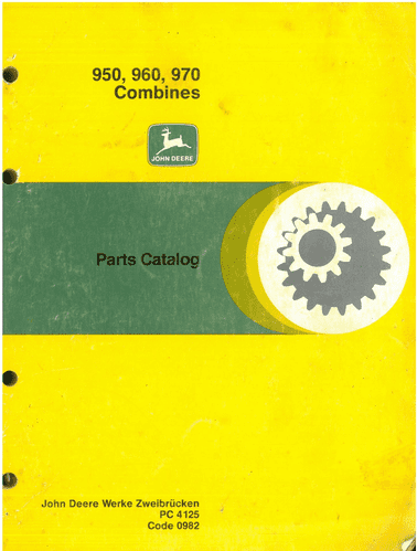 John Deere Combine 950, 960 & 970 Parts ORIGINAL Manual