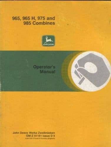 John Deere Combine 965 965H 975 985 Operators Manual