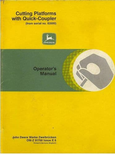 John Deere Cutting Platforms with Quick Coupler for Combines Operators Manual from #83500