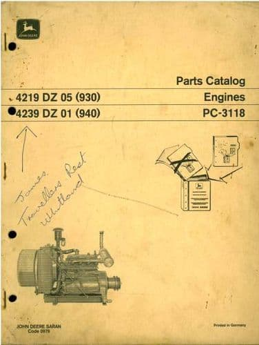 John Deere Engine 4219 & 4239 Parts Manual - DZ05, DZ01 as in 930 & 940 Combines