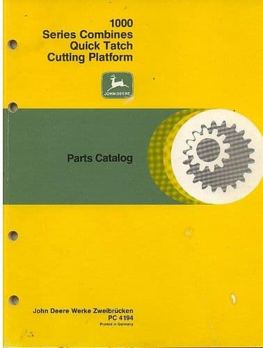 John Deere Quick Tatch Cutting Platforms 1000 Series Parts Manual