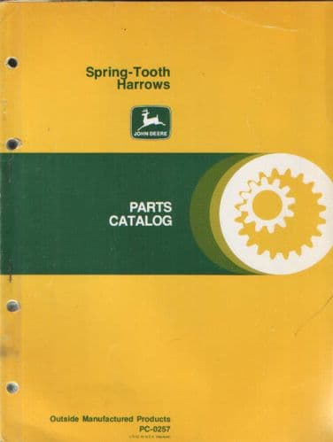 John Deere Spring Tooth Harrows Parts Manual - TH224 TH224H & TW216