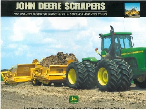 John Deere Tractor for Earthmoving Scrapers 8410 8410T 9000 Brochure