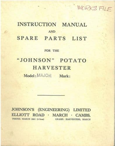 Johnson Potato Harvester Model Major Operators Manual & Parts List