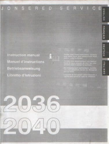 Jonsered Chainsaw 2036 2040 Operators Manual
