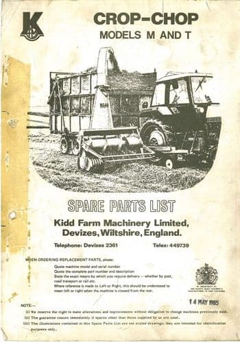 Kidd Crop - Chop Forage Harvester M (Mounted) & T (Trailed) Parts List