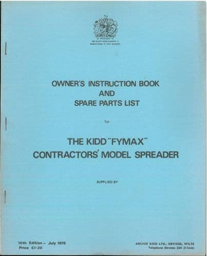 Kidd Fymax Contractors Model Spreader Operators Manual with Parts List