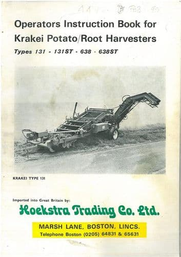 Krakei Potato Harvester 131 131ST 638 638ST Operators Manual