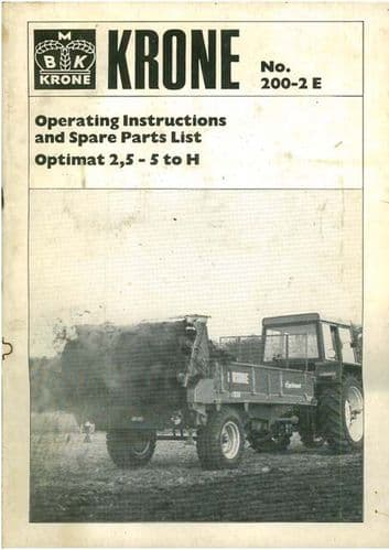 Krone Manure Spreader Optimat 2.5 - 5 to H Operators Manual with Parts List