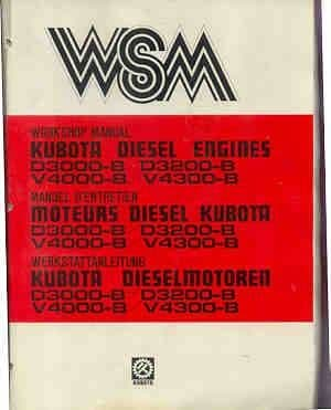 Kubota D30000-B, D3200-B, V4000-B, V4300-B, Diesel Engine Service Workshop Manual