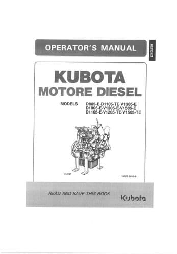 Kubota Diesel Engine D905-E D1105-TE V1305-E D1005-E V1205-E Operators Manual