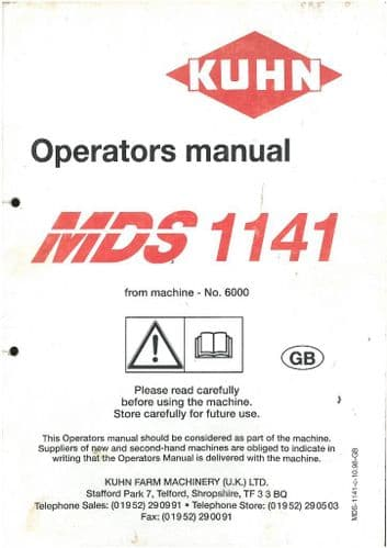 Kuhn Fertiliser Spreader MDS1141 Operators Manual - MDS 1141