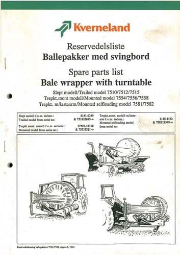 Kverneland Bale Wrapper with Turntable Parts Manual 7510 7512 7515 7554 7556 7558 7581 7582 & Volac