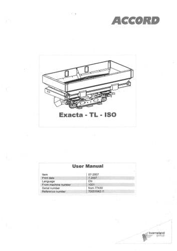 Kverneland Fertiliser Spreader Exacta TL1700 TL2400 TL2600 TL3300 TL3500 TL3900 ISO Operators Manual