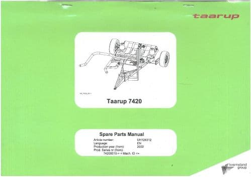 Kverneland Taarup 7120 & 7420 Bale Wrapper Parts Manual