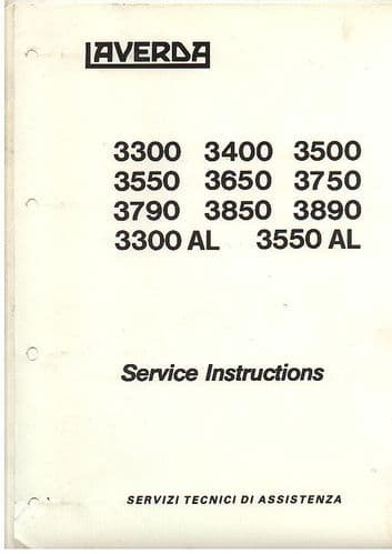 Laverda Combine 3300 3300AL 3400 3500 3550 3550AL 3650 3750 3790 3850 3890 Service Workshop Manual
