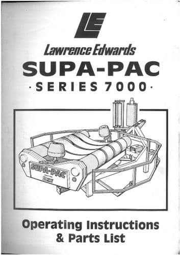 Lawrence Edwards Supa-Pac Series 7000 Bale Wrapper Operators Manual with Parts List