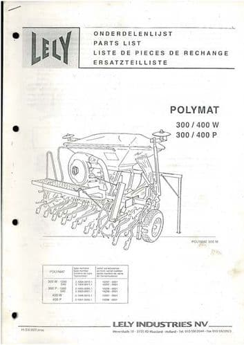 Lely Polymat 300W 400W 300P 400P Fertilizer Spreader Parts Manual