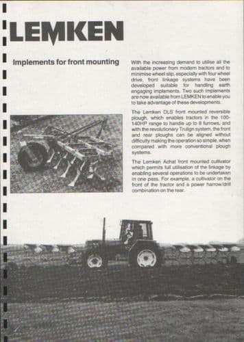 Lemken Implements for Front Mounting Ploughing & Cultivating Brochure