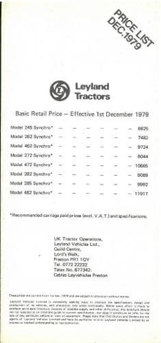 Leyland Tractor 245 262 462 272 472 282 285 482 Pocket Price List -December 1979