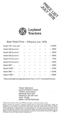 Leyland Tractor Price List - Dated July 1978 - 154 245 262 272 285 2100 485 4100
