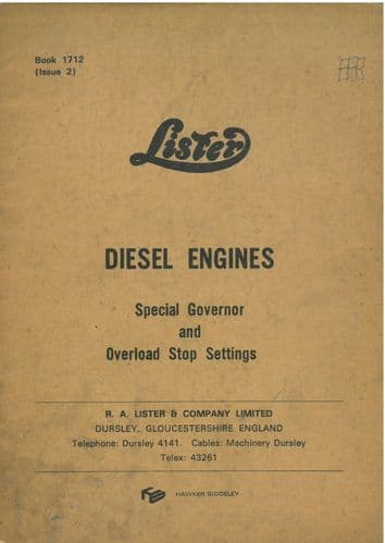 Lister Diesel Engine Special Governor Settings & Overload Stop Settings Manual