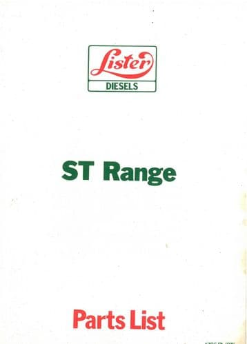 Lister Diesel Engine ST1 ST2 ST3 Parts Manual