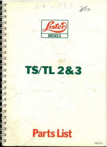 Lister Diesel Engine TL2 TL3 TS2 TS3 Parts Manual