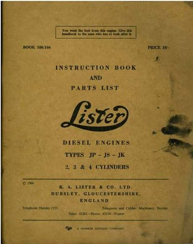 Lister Diesel Engine Types JP, JS & JK 2, 3 & 4 Cylinders Operators Manual with Parts List