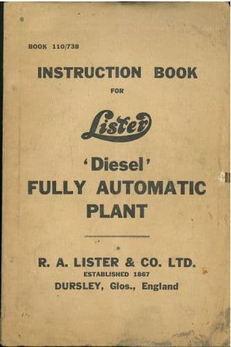 Lister Diesel Fully Automatic Plant Operators Manual with Trouble Shooting