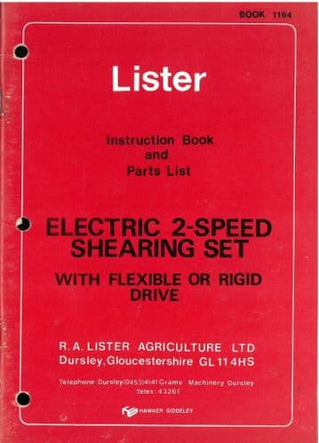 Lister Electric 2 - Speed Shearing Set (Flexible or Rigid Drive) Operators Manual & Parts List
