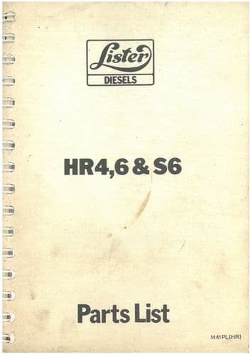 Lister Engine HR4, HR6 & HRS6 Parts Manual