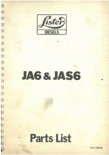 Lister Engine JA6 & JAS6 Parts Manual