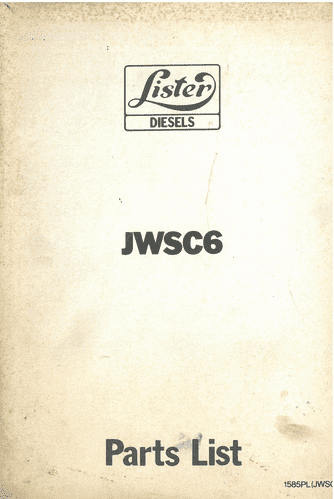 Lister Engine JWSC6 Parts Manual