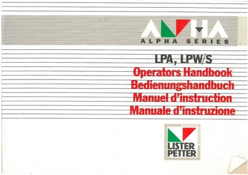 Lister Engine LPA & LPW/S Operators Manual