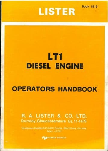 Lister Engine LT1 Operators Manual