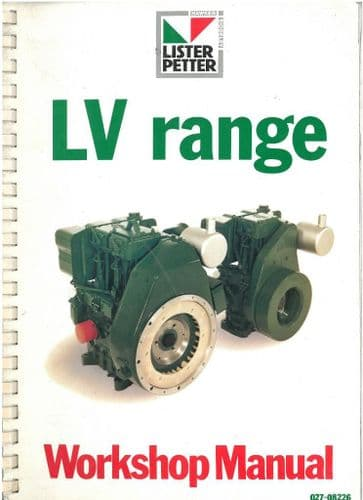 Lister Engine LV1 & LV2 Workshop Service Manual - For Industrial Applications