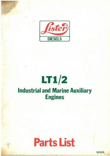 Lister Industrial & Marine Auxiliary Engine LT1 LT2 Parts Manual