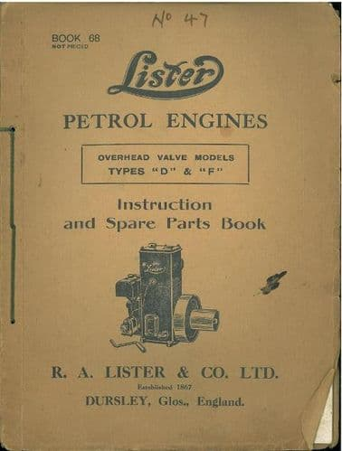 Lister Petrol Engines OHV types D & F Operators and Illustrated Parts Manual