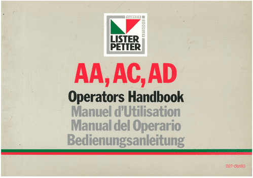 Lister Petter Engine AA, AC & AD Operators Manual