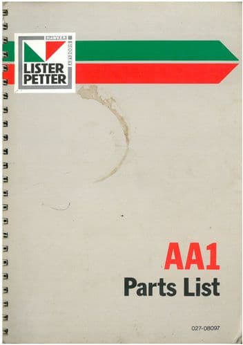 Lister Petter Engine AA1 Parts Manual
